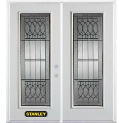 Stanley Doors 71 inch x 82.375 inch Nightingale Patina Full Lite Prefinished White Left-Hand Inswing Steel Prehung Double Door with Astragal and Brickmould