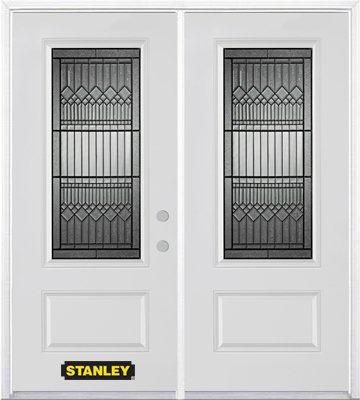 70-inch x 82-inch Lanza 3/4-Lite 1-Panel White Double Steel Door with Astragal and Brickmould
