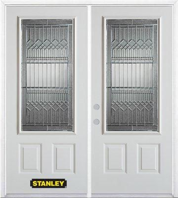 74-inch x 82-inch Lanza 3/4-Lite 2-Panel White Double Steel Door with Astragal and Brickmould