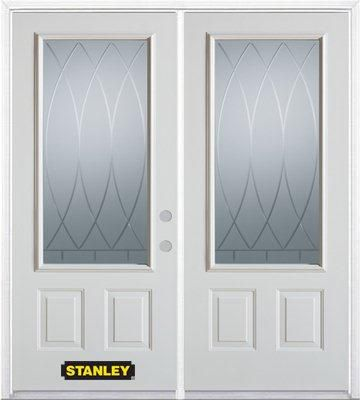 74-inch x 82-inch Bourgogne 3/4-Lite 2-Panel White Double Steel Door with Astragal and Brickmould