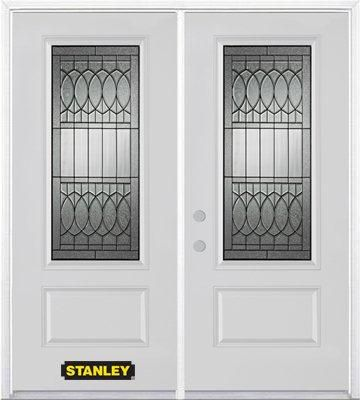 74-inch x 82-inch Nightingale 3/4-Lite 1-Panel White Double Steel Door with Astragal and Brickmou...