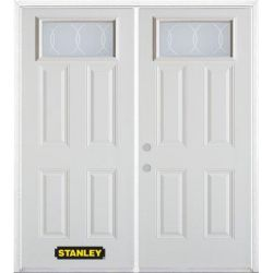 Stanley Doors 75 inch x 82.375 inch Bourgogne Rectangular Lite 4-Panel Prefinished White Right-Hand Inswing Steel Prehung Double Door with Astragal and Brickmould