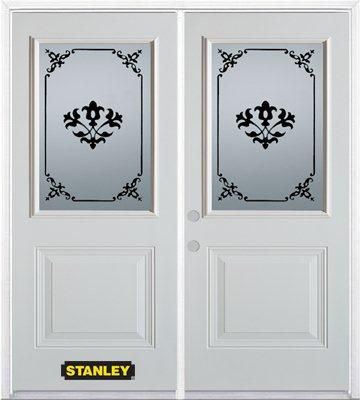 70-inch x 82-inch Renoir 1/2-Lite 1-Panel White Double Steel Door with Astragal and Brickmould