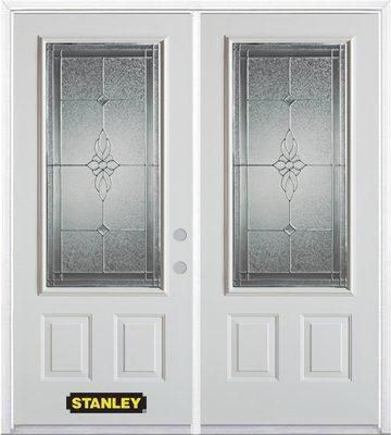 74-inch x 82-inch Victoria 3/4-Lite 2-Panel White Double Steel Door with Astragal and Brickmould