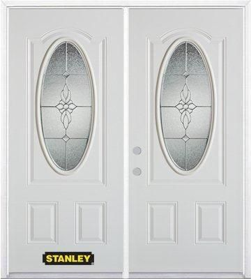 74-inch x 82-inch Victoria Oval 3/4-Lite White Double Steel Door with Astragal and Brickmould