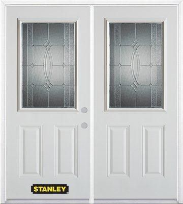 74-inch x 82-inch 1/2-Lite 2-Panel White Double Steel Door with Astragal and Brickmould