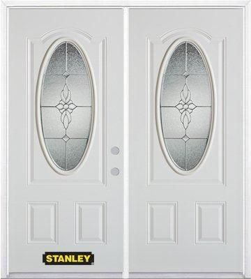 70-inch x 82-inch Victoria Oval 3/4-Lite White Double Steel Door with Astragal and Brickmould