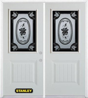 66-inch x 82-inch Mâtisse 1/2-Lite 1-Panel White Double Steel Door with Astragal and Brickmould