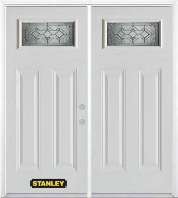 74-inch x 82-inch Neo-Deco 1/4-Lite 2-Panel White Double Steel Door with Astragal and Brickmould