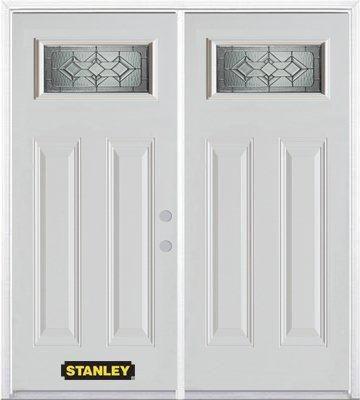 Porte dentrée double en acier préfini blanc, munie de deux panneaux et dun 1/4 verre, 70 po x 82 ...