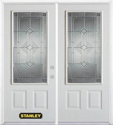 70-inch x 82-inch Neo-Deco 3/4-Lite 2-Panel White Double Steel Door with Astragal and Brickmould