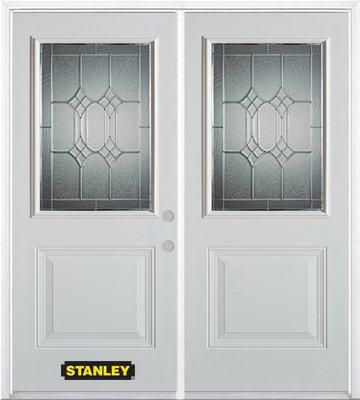 66-inch x 82-inch Orleans 1/2-Lite 1-Panel White Double Steel Door with Astragal and Brickmould