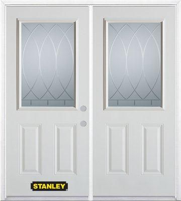 74-inch x 82-inch Bourgogne 1/2-Lite 2-Panel White Double Steel Door with Astragal and Brickmould