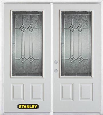 74-inch x 82-inch Orleans 3/4-Lite 2-Panel White Double Steel Door with Astragal and Brickmould
