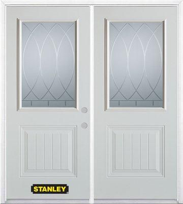 70-inch x 82-inch Bourgogne 1/2-Lite 1-Panel White Double Steel Door with Astragal and Brickmould