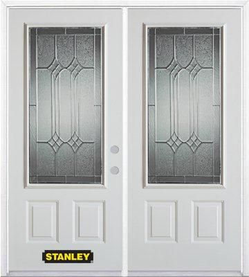 74 In. x 82 In. 3/4 Lite 2-Panel Pre-Finished White Double Steel Entry Door with Astragal and Bri...