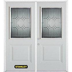 Stanley Doors Porte dentrée double en acier préfini blanc, munie d'un panneau et dun 1/2 verre, 74 po x 82 po avec astragale et moulure de brique