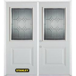 Stanley Doors 75 inch x 82.375 inch Orleans Patina 1/2 Lite 1-Panel Prefinished White Right-Hand Inswing Steel Prehung Double Door with Astragal and Brickmould