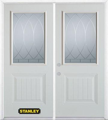 66-inch x 82-inch Bourgogne 1/2-Lite 1-Panel White Double Steel Door with Astragal and Brickmould
