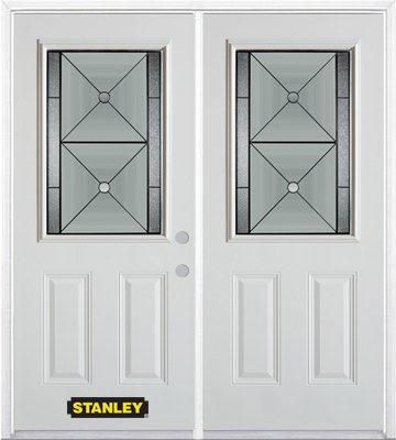 74-inch x 82-inch Bellochio 1/2-Lite 2-Panel White Double Steel Door with Astragal and Brickmould