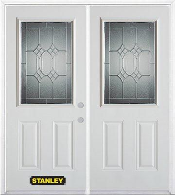 66-inch x 82-inch Orleans 1/2-Lite 2-Panel White Double Steel Door with Astragal and Brickmould