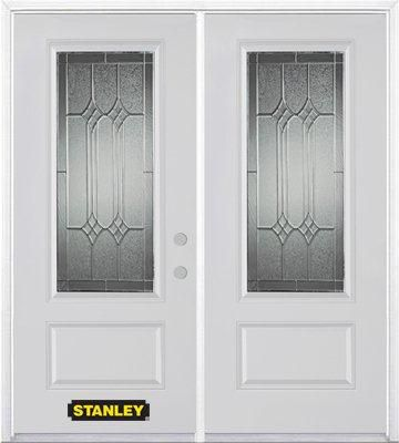70-inch x 82-inch Orleans 3/4-Lite 1-Panel White Double Steel Door with Astragal and Brickmould