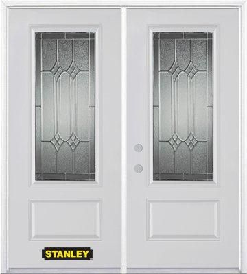 66-inch x 82-inch Orleans 3/4-Lite 1-Panel White Double Steel Door with Astragal and Brickmould