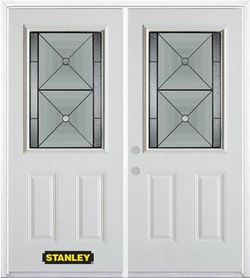 70-inch x 82-inch Bellochio 1/2-Lite 2-Panel White Double Steel Door with Astragal and Brickmould