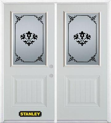 74-inch x 82-inch Renoir 1/2-Lite 1-Panel White Double Steel Door with Astragal and Brickmould