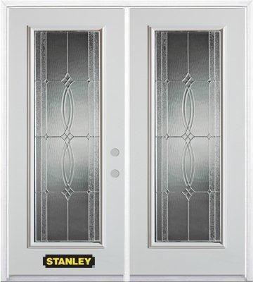 70-inch x 82-inch Diamanti Classic Full Lite White Double Steel Door with Astragal and Brickmould