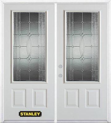 74-inch x 82-inch 3/4-Lite 2-Panel White Double Steel Door with Astragal and Brickmould