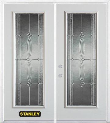 Stanley Doors 67 inch x 82.375 inch Diamanti Zinc Full Lite Prefinished White Right-Hand Inswing Steel Prehung Double Door with Astragal and Brickmould