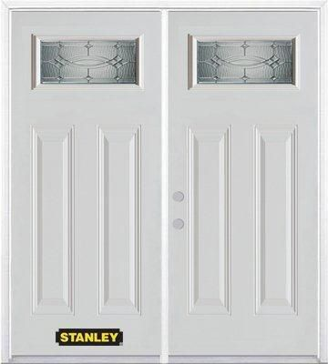 74-inch x 82-inch 1/4-Lite 2-Panel White Double Steel Door with Astragal and Brickmould