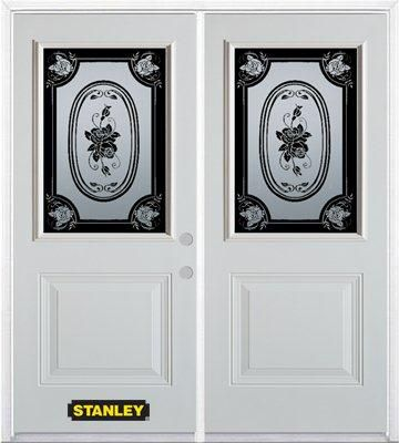 70-inch x 82-inch Mâtisse 1/2-Lite 1-Panel White Double Steel Door with Astragal and Brickmould
