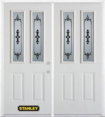 74-inch x 82-inch Renoir 2-Lite 2-Panel White Double Steel Door with Astragal and Brickmould