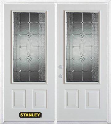 Porte dentrée double en acier préfini blanc, munie de deux panneaux et dun 3/4 verre, 70 po x 82 ...