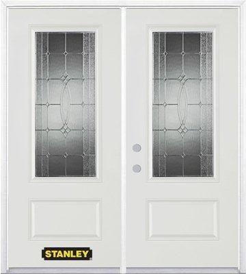 Porte dentrée double en acier préfini blanc, munie d'un panneau et dun 3/4 verre, 74 po x 82 po a...