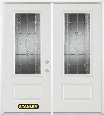Porte dentrée double en acier préfini blanc, munie d'un panneau et dun 3/4 verre, 66 po x 82 po a...