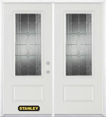 74-inch x 82-inch 3/4-Lite 1-Panel White Double Steel Door with Astragal and Brickmould