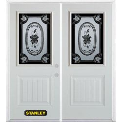 Stanley Doors 75 inch x 82.375 inch Mâtisse 1/2 Lite 1-Panel Prefinished White Left-Hand Inswing Steel Prehung Double Door with Astragal and Brickmould