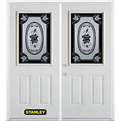 STANLEY Doors 67 inch x 82.375 inch Mâtisse Half Lite 2-Panel Prefinished White Right-Hand Inswing Steel Prehung Double Door with Astragal and Brickmould