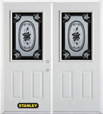 66-inch x 82-inch Mâtisse 1/2-Lite 2-Panel White Double Steel Door with Astragal and Brickmould