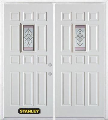 74-inch x 82-inch Rectangular Lite 11-Panel White Double Steel Door with Astragal and Brickmould