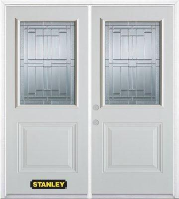 70-inch x 82-inch Seattle 1/2-Lite 1-Panel White Double Steel Door with Astragal and Brickmould