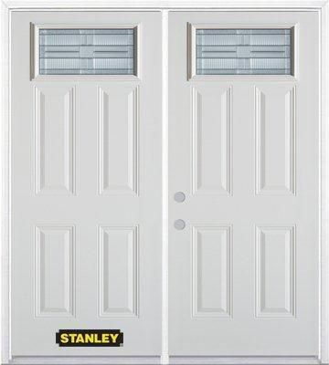 74-inch x 82-inch Rectangular Lite 4-Panel White Double Steel Door with Astragal and Brickmould