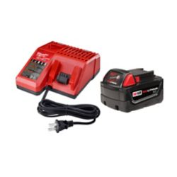 Milwaukee Tool Ensemble de base avec batteries et chargeur multi-voltage M18, 18 V, 3,0 Ah