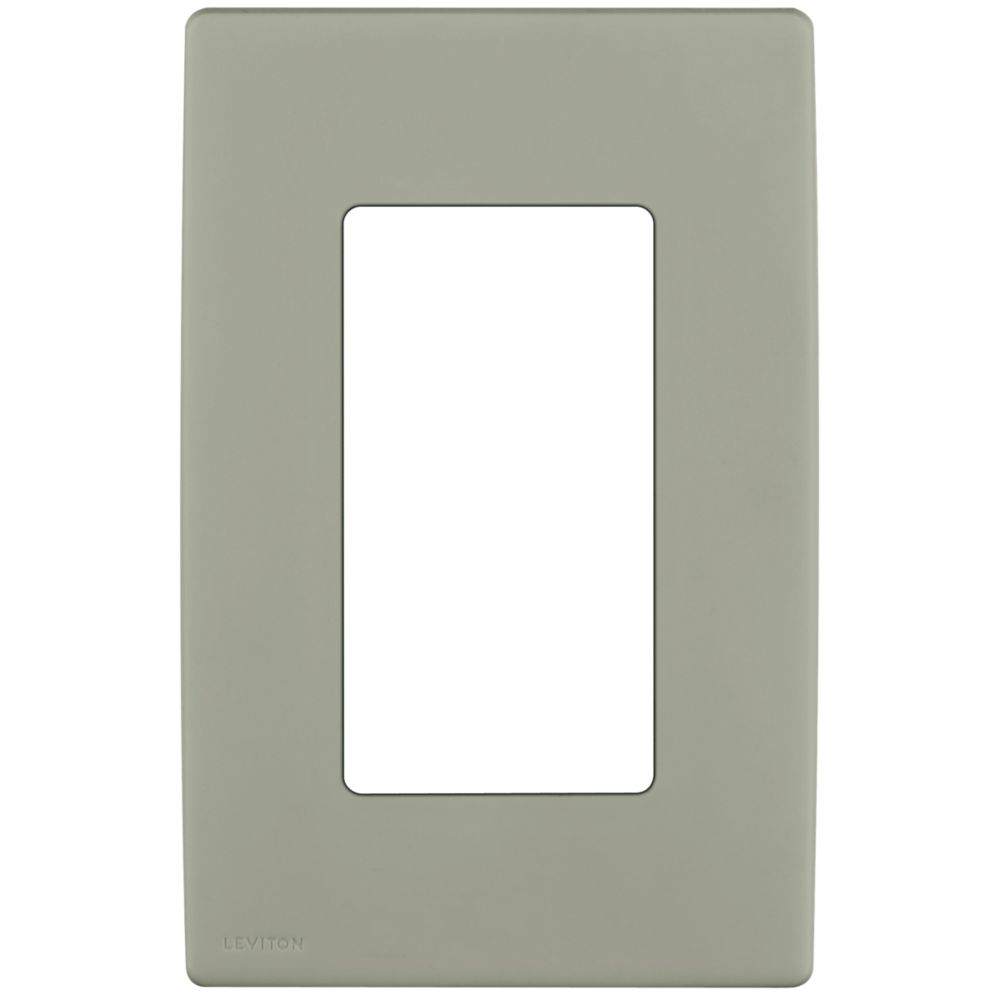 1-Gang Screwless Snap-On Wallplate for One Device, in Wood Smoke
