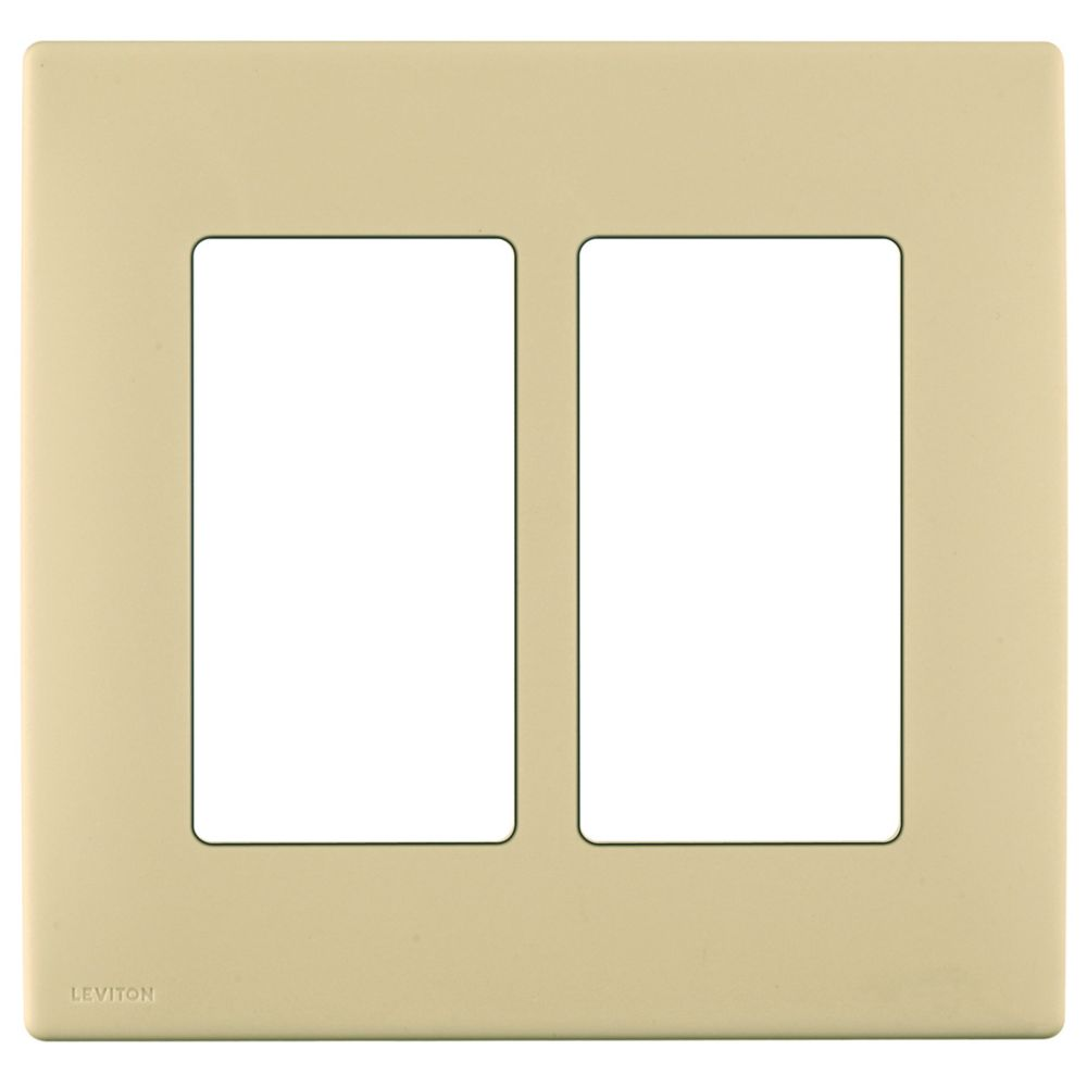 2-Gang Screwless Snap-On Wallplate for Two Devices, in Gold Coast White
