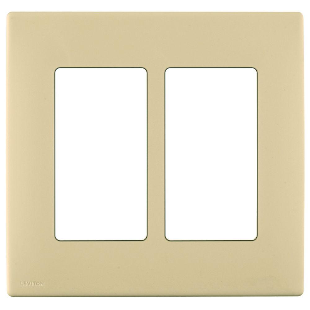 Plaque sans vis enclipsable Renu pour deux dispositifs, en blanc Côte d'Or.