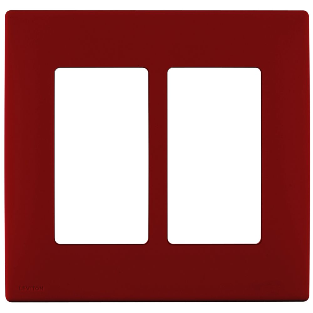 2-Gang Screwless Snap-On Wallplate for Two Devices, in Red Delicious